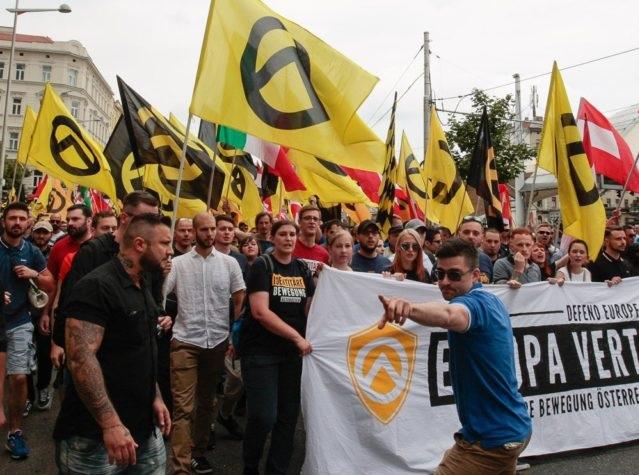 Protesta del Movimiento Identitario Austríaco