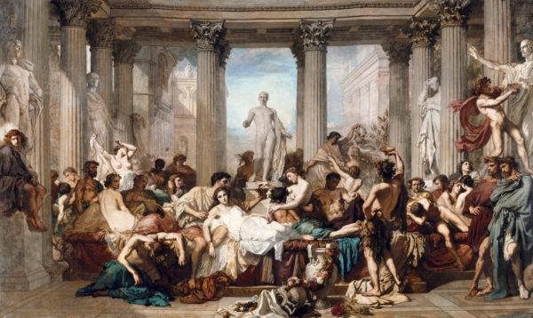 """""""Los Romanos durante la Decadencia"""" pintura de Thomas Couture"""